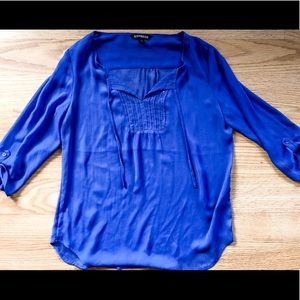 Express 3/4 Sleeve Blue Sequin Blouse